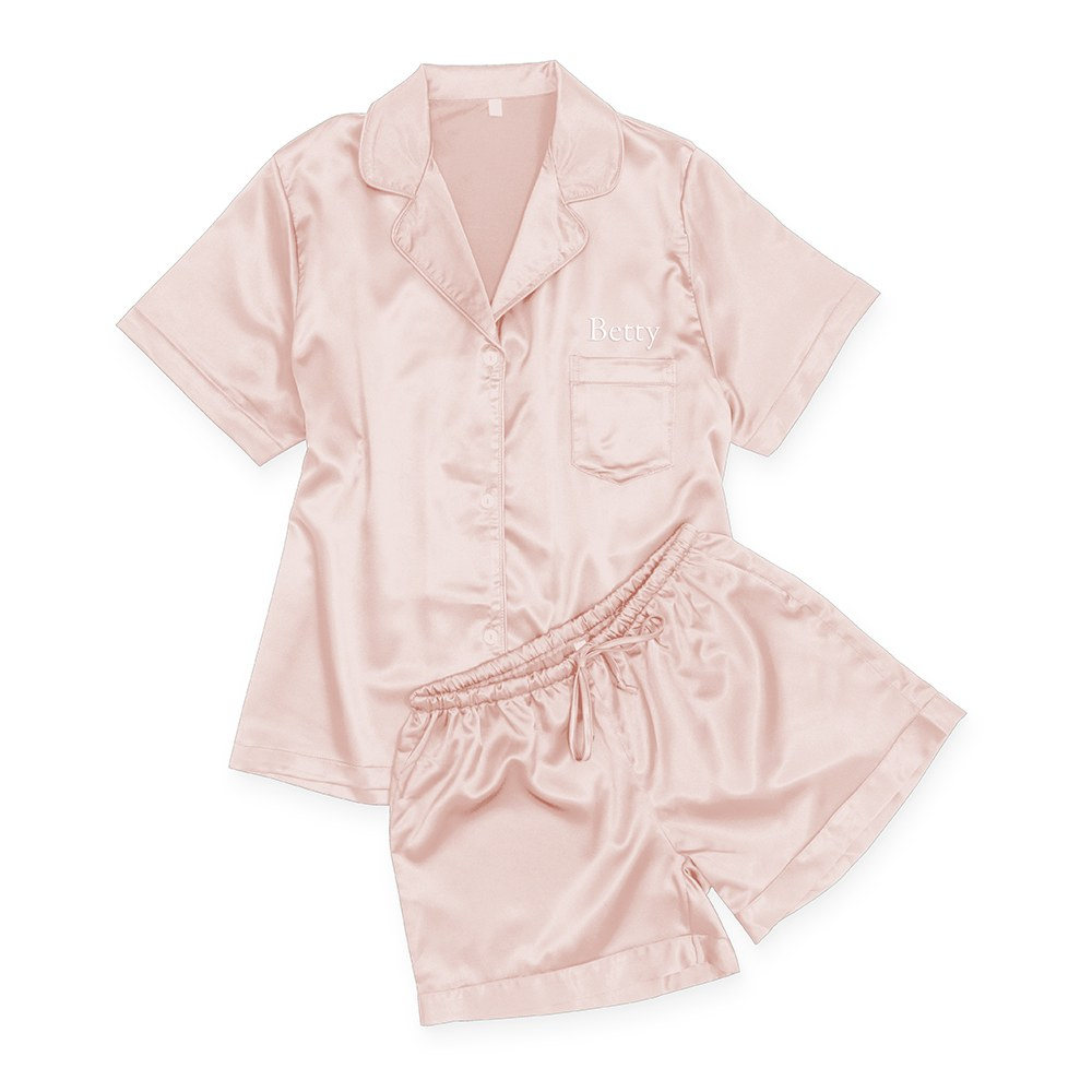 Women's Personalized Satin Pajama Sleepwear Set - Pink Blush