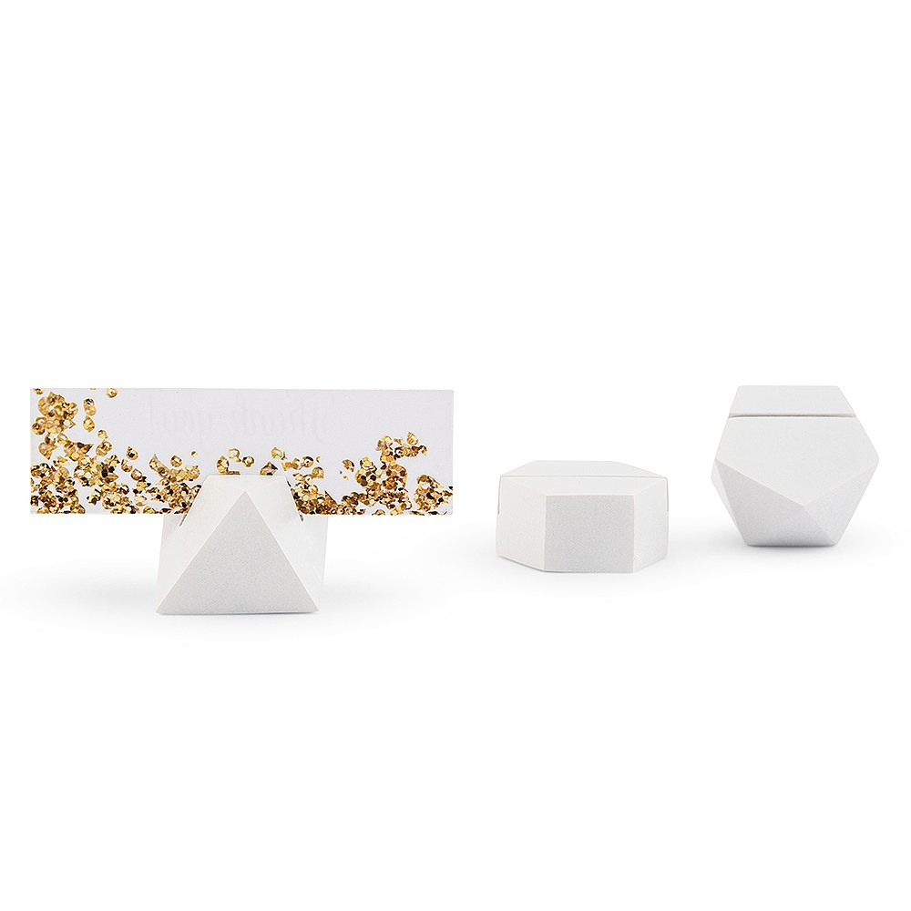 White Geometric Card Holder - Assortment
