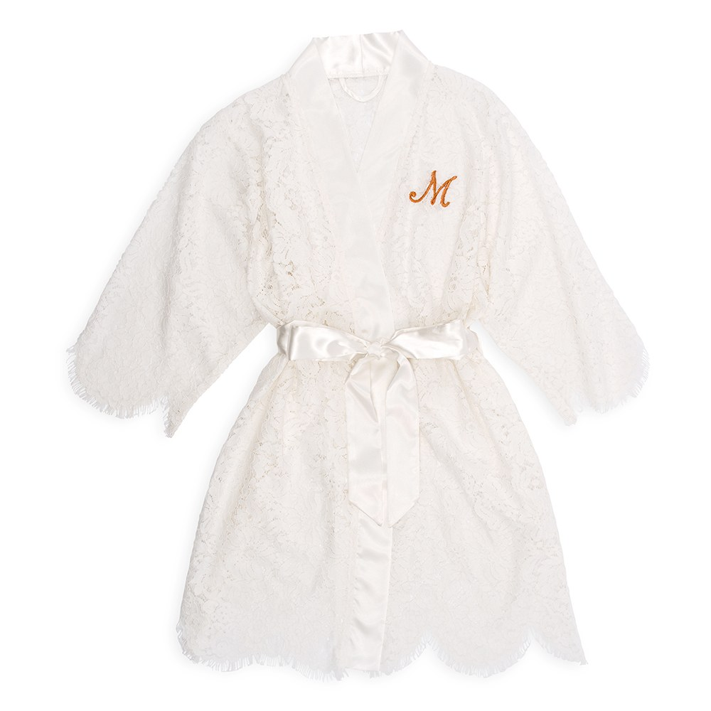 Lace Bridal Robe - White