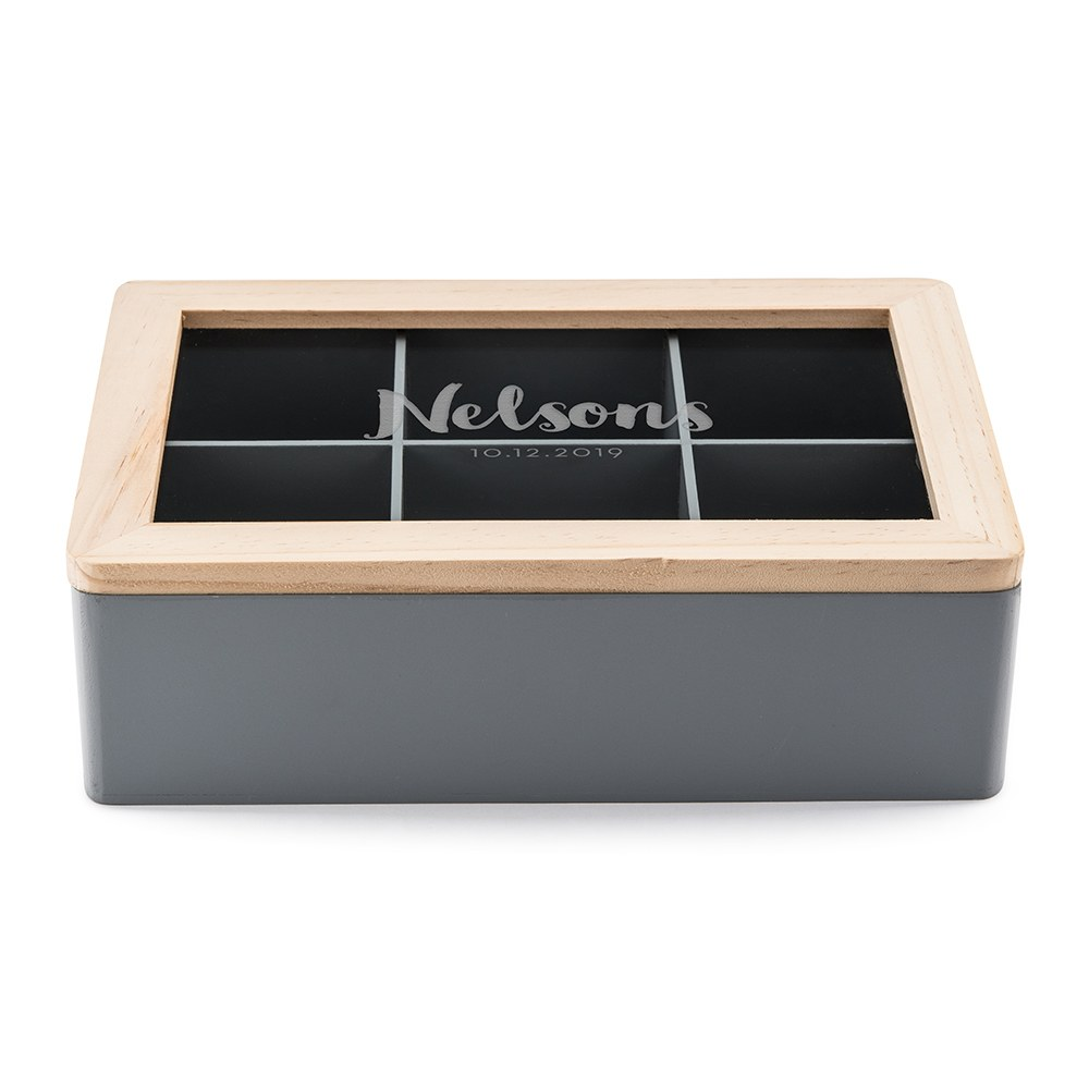 Wooden Keepsake Box With Glass Lid - Script Font Text