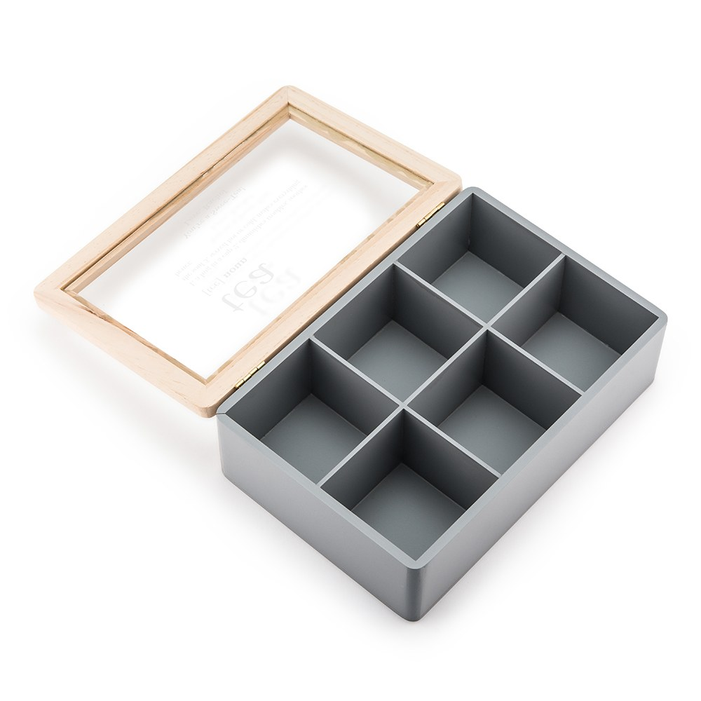 Wooden Keepsake Box With Glass Lid - Tea