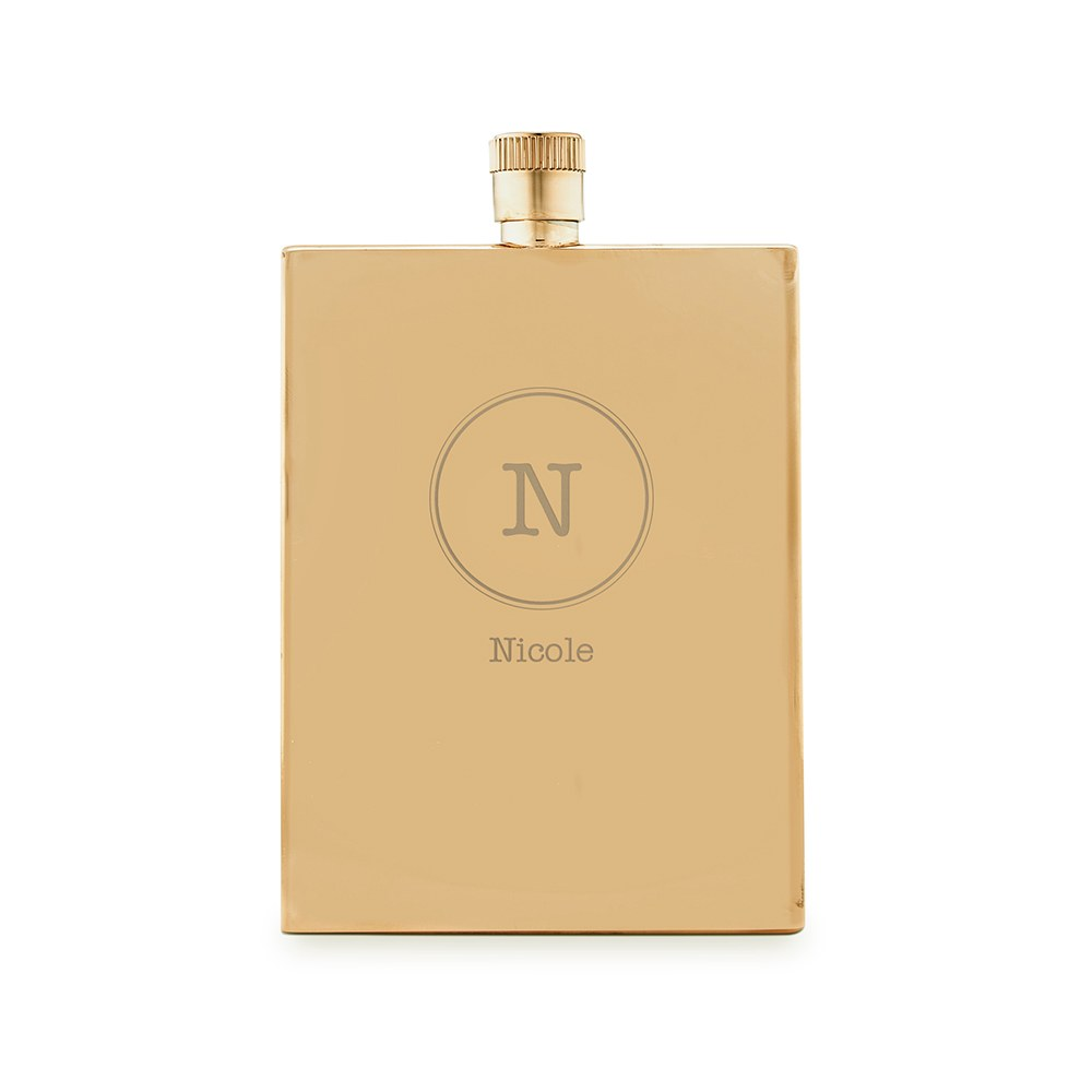 Personalized Gold Stainless Steel Hip Flask – Circle Monogram Engraving