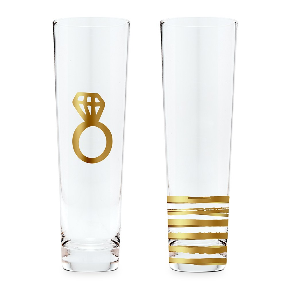 Stemless Toasting Champagne Flute Gift for Wedding Party - Engagement Set of Two