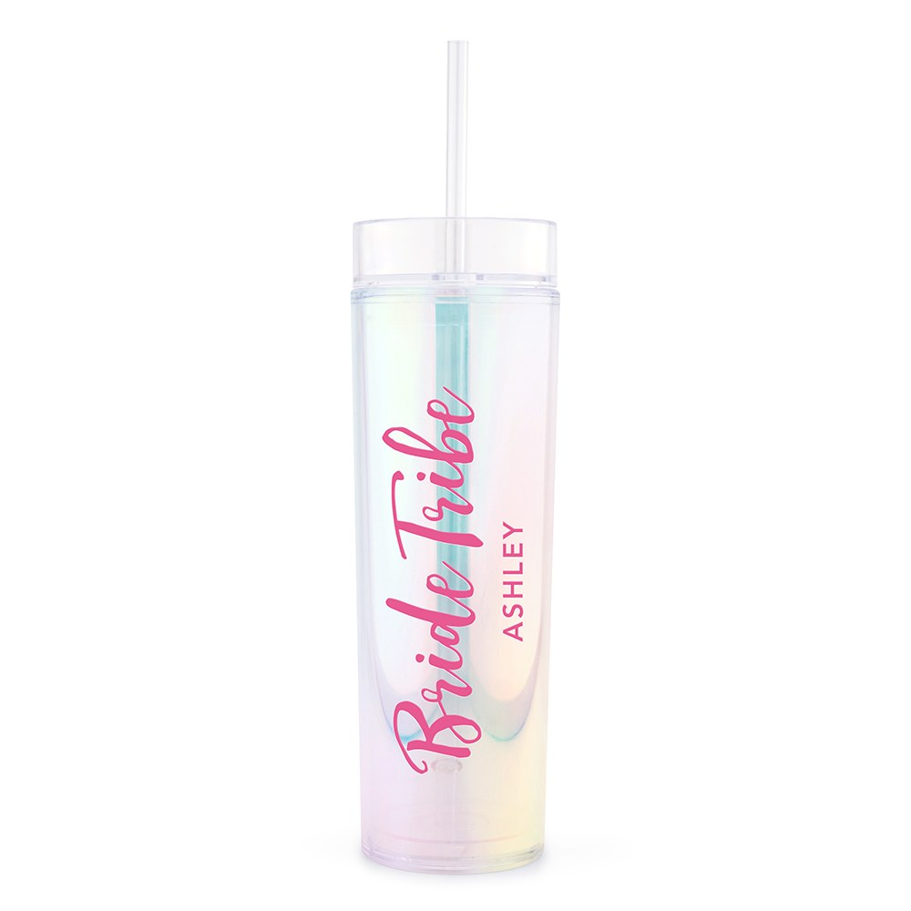 Personalized Plastic Drink Tumbler - Bride Tribe Print