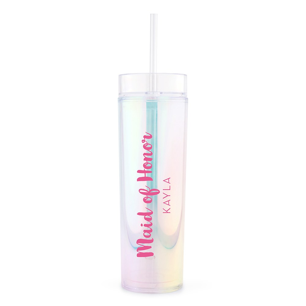 Personalized Plastic Drink Tumbler - Retro Luxe Maid of Honor