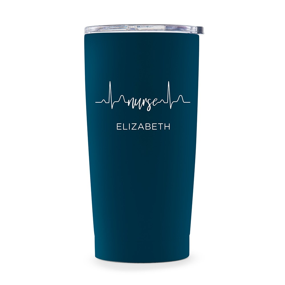 Stainless Steel Insulated Travel Mug - Nurse Heartbeat