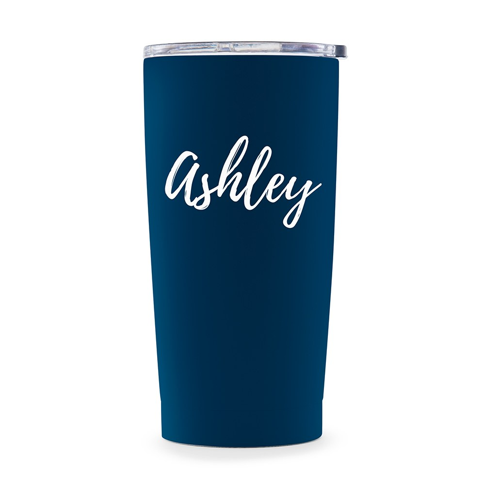 Personalized Stainless Steel Insulated Travel Mug – Calligraphy Monogram Print