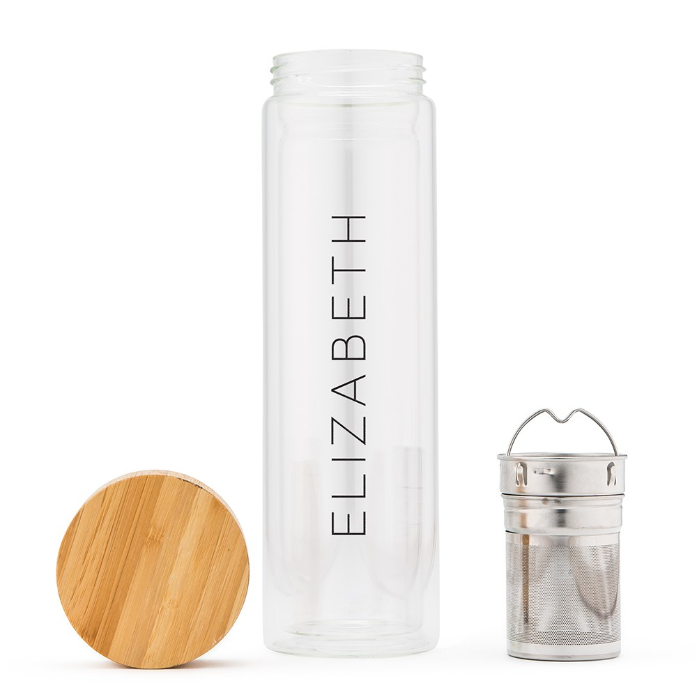 Glass Tea Infuser Travel Cup - Contemporary Vertical Line Printing