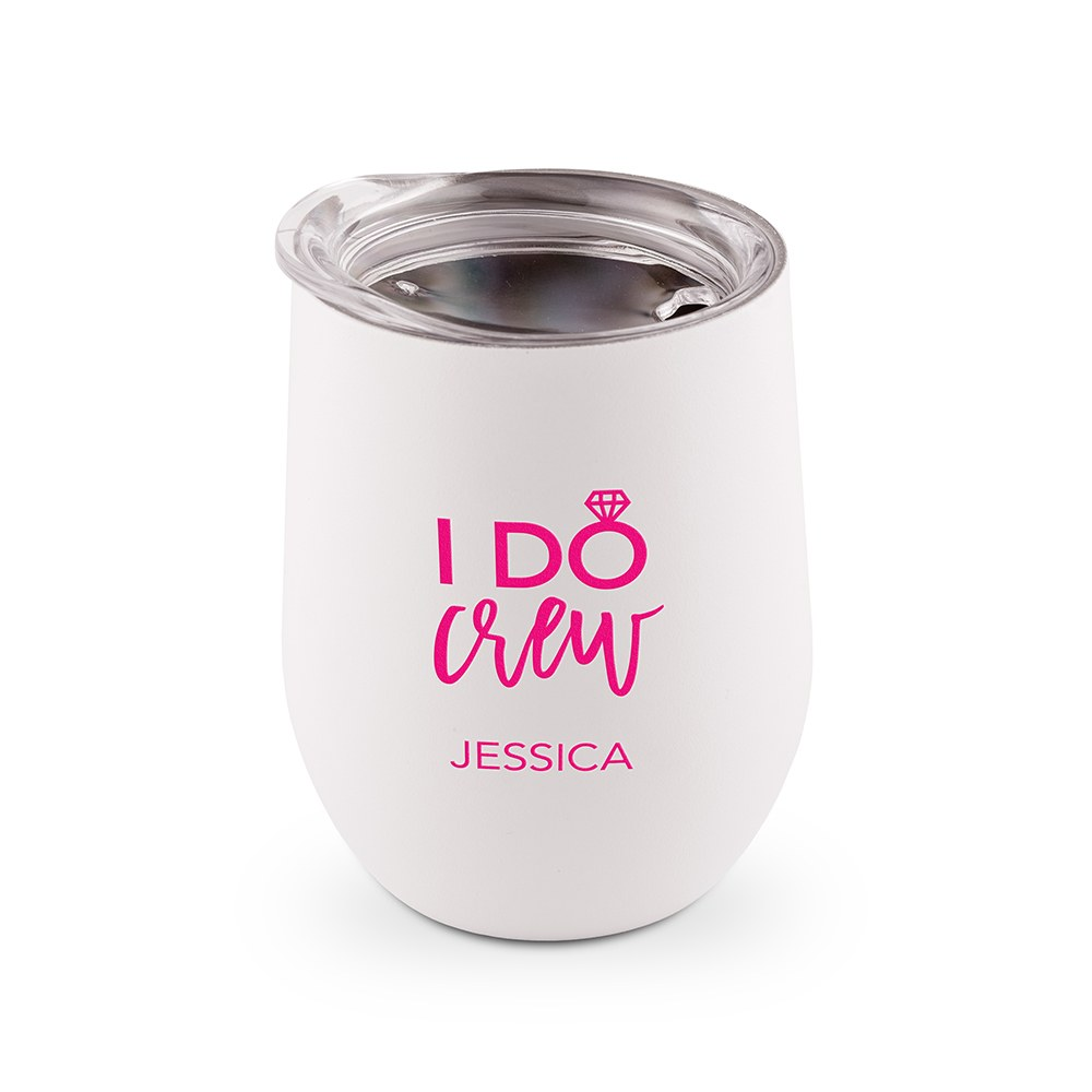 Personalized Stemless Travel Tumbler - I Do Crew Printing