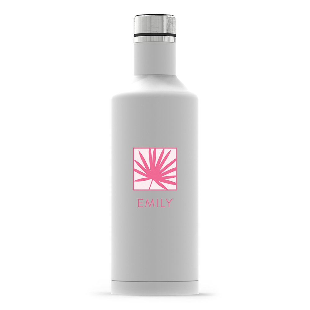 Insulated Water Bottle - Sleek White - Summer Vibes Palm Leaf Printing