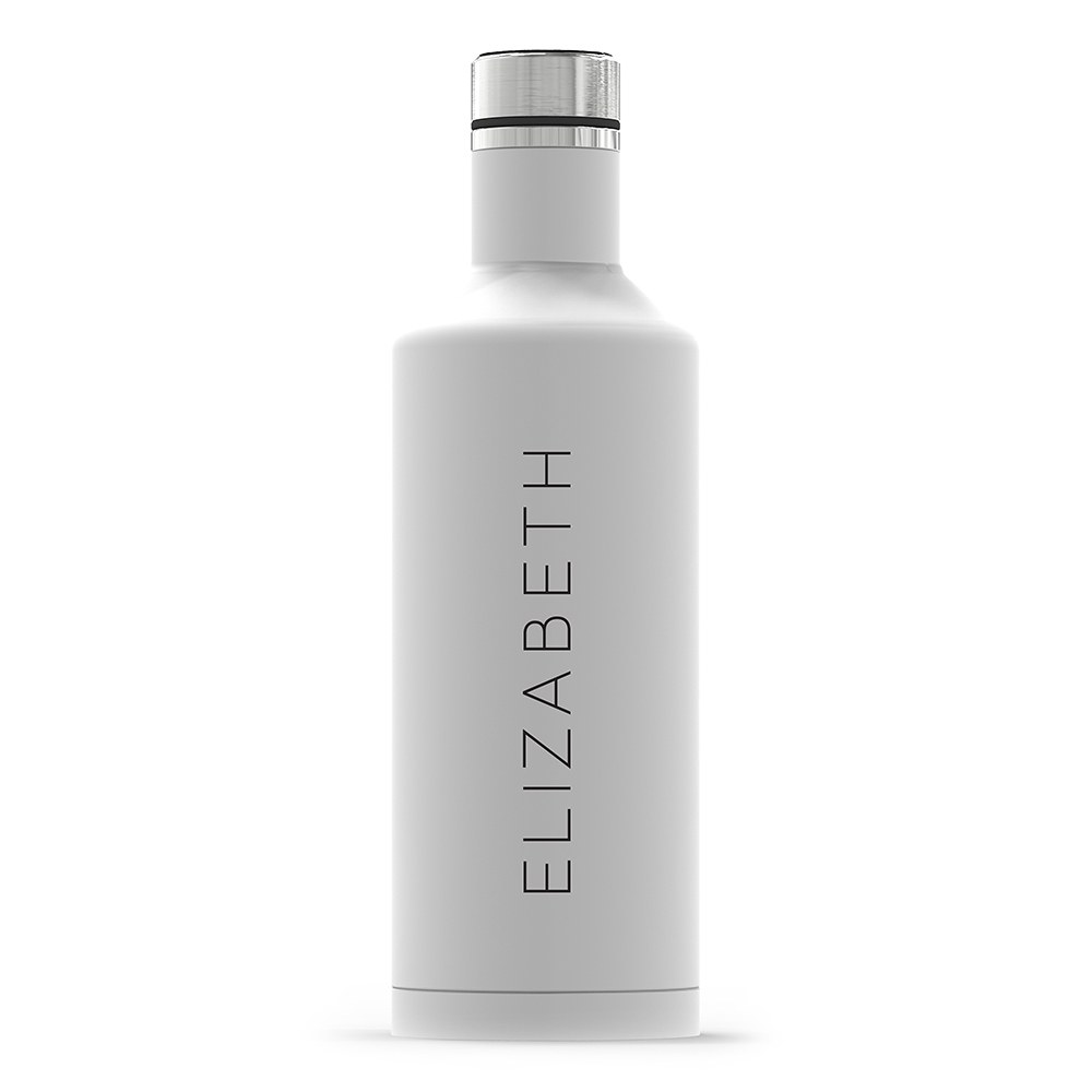 Personalized White Stainless Steel Insulated Water Bottle – Vertical Print