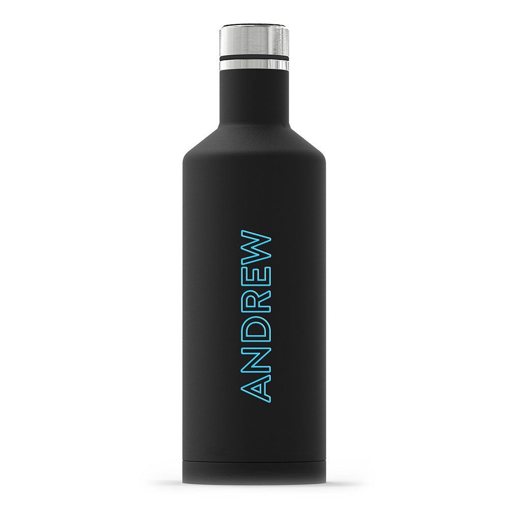 Insulated Water Bottle - Sleek Black - Summer Vibes Vertical Printing