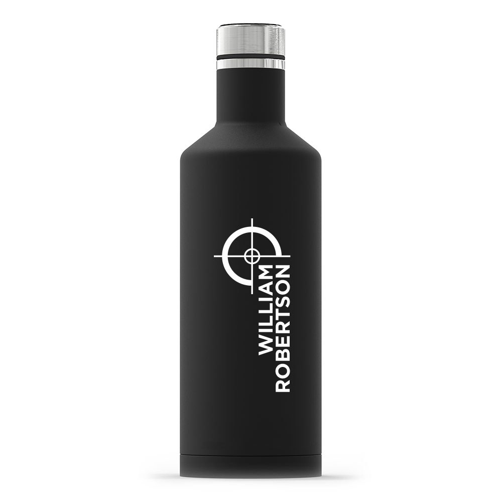 Personalized Black Stainless Steel Insulated Water Bottle – Hunting/Gaming Print