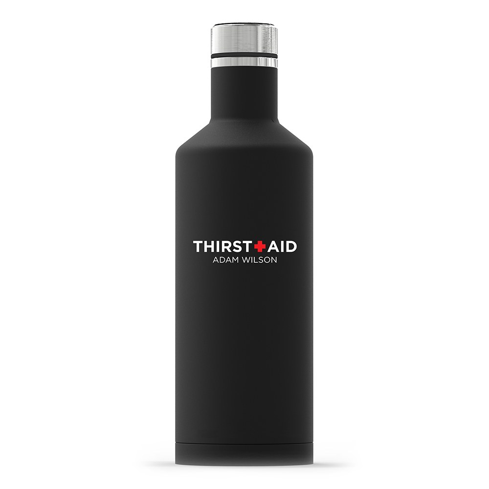Personalized Black Stainless Steel Insulated Water Bottle – Thirst Aid Print