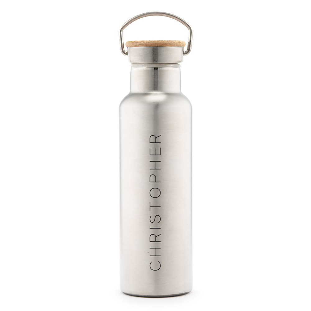 Personalized Chrome Stainless Steel Reusable Water Bottle – Vertical Print