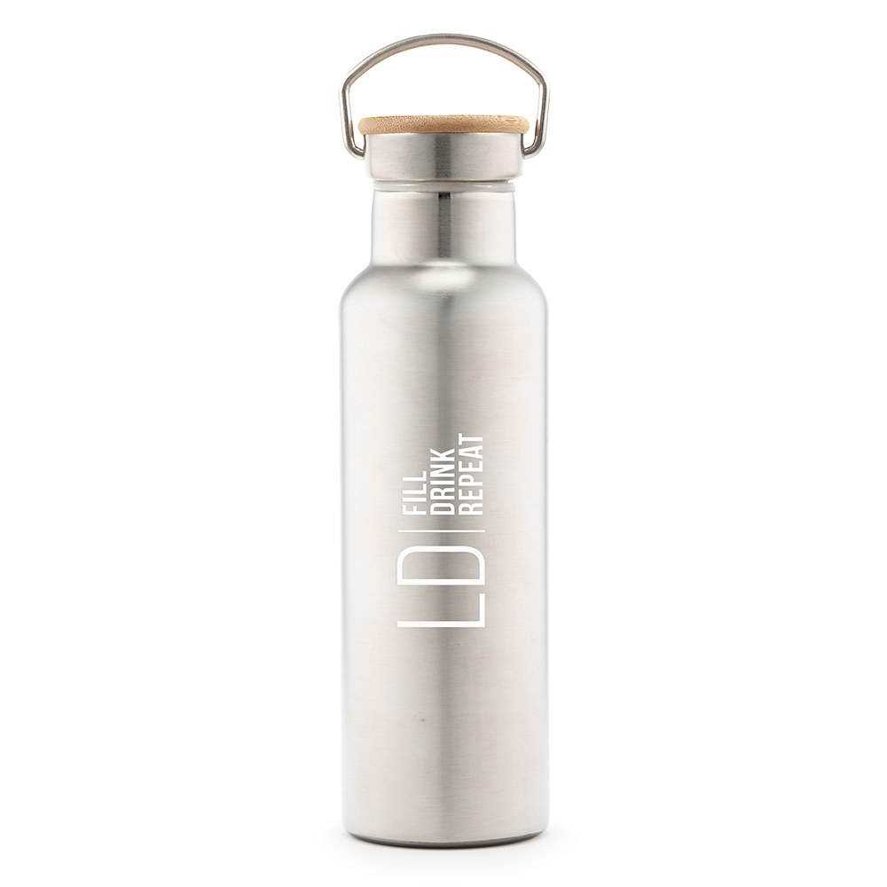 Personalized Chrome Stainless Steel Reusable Water Bottle – Modern Monogram and Text Print