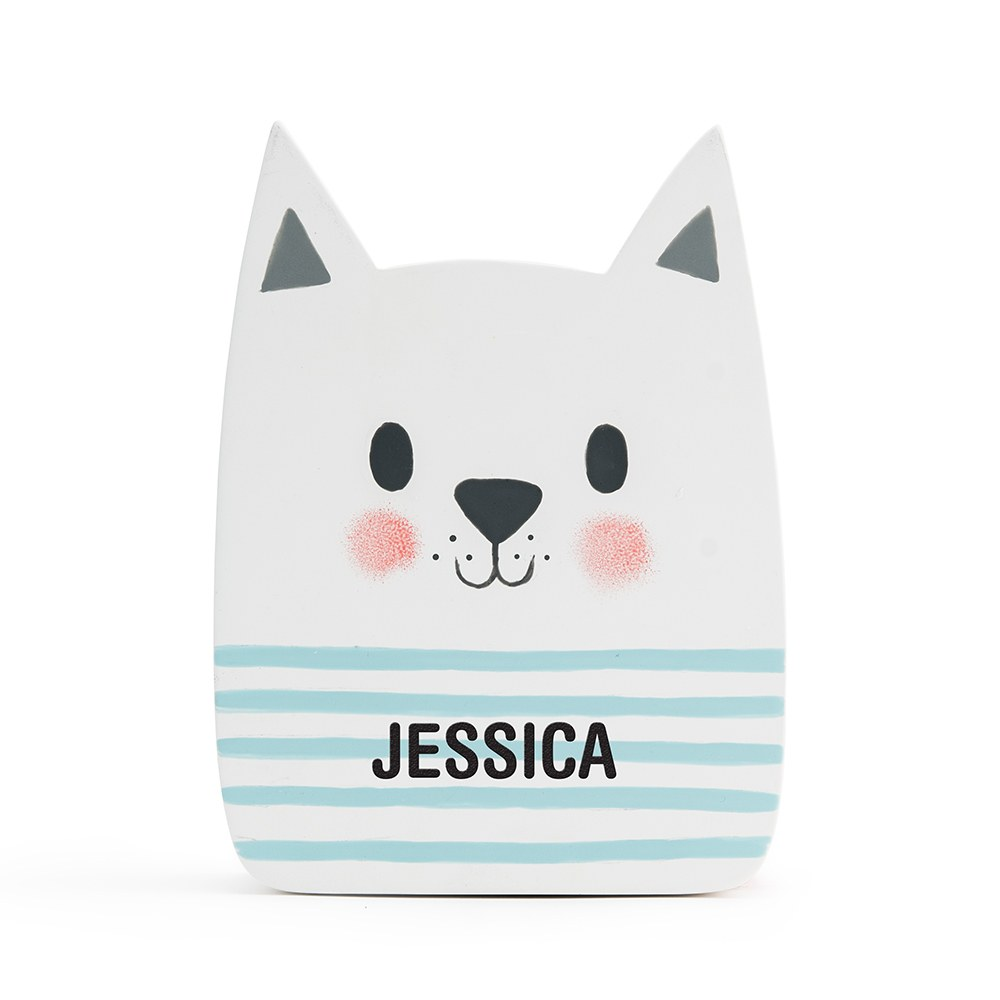 Personalized Coin Bank - White Cat