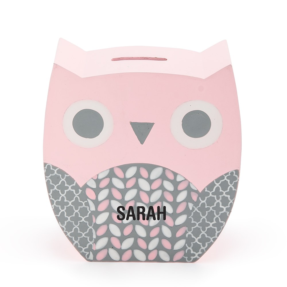 Personalized Coin Bank - Pink Owl