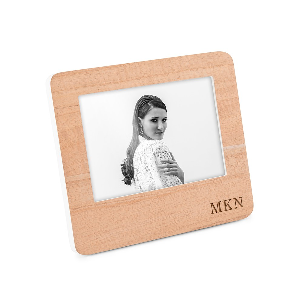 Custom Wooden Picture Frame with White Edge - Classic Initials