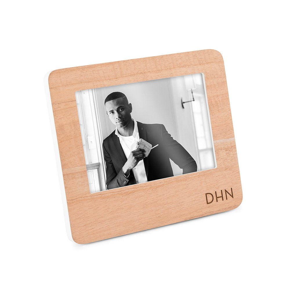 Custom Wooden Picture Frame with White Edge - Moden Initials