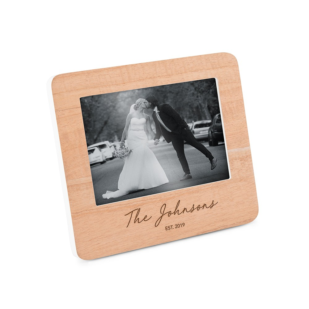 Custom Wooden Picture Frame with White Edges - Signature Script