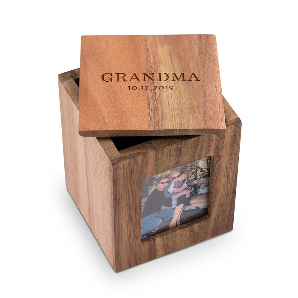 Custom Wood Keepsake Box with Frame- Classic Font Etching