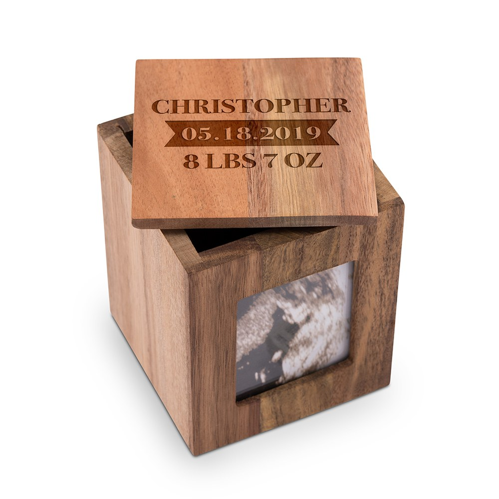 Custom Wood Keepsake Box with Frame- Baby Etching