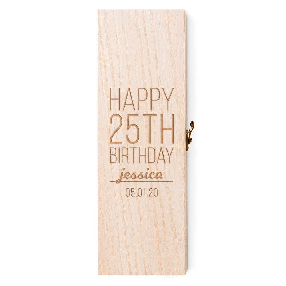 Personalized Wooden Wine Gift Box with Lid - Happy Birthday