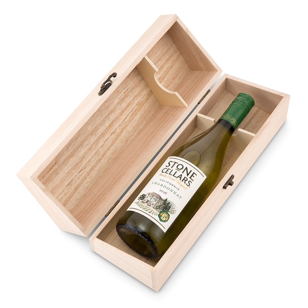 Personalized Wooden Wine Gift Box with Lid - Signature Script