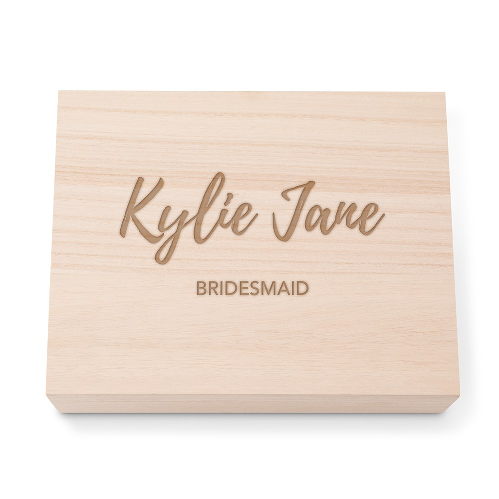 Personalized Wooden Keepsake Gift Box with Hinged Lid - Script Etch