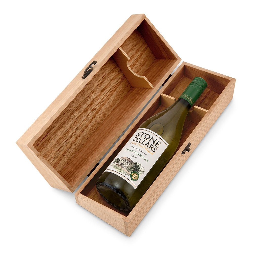 Custom Engraved Wooden Wine Gift Box with Lid - Thank You Script