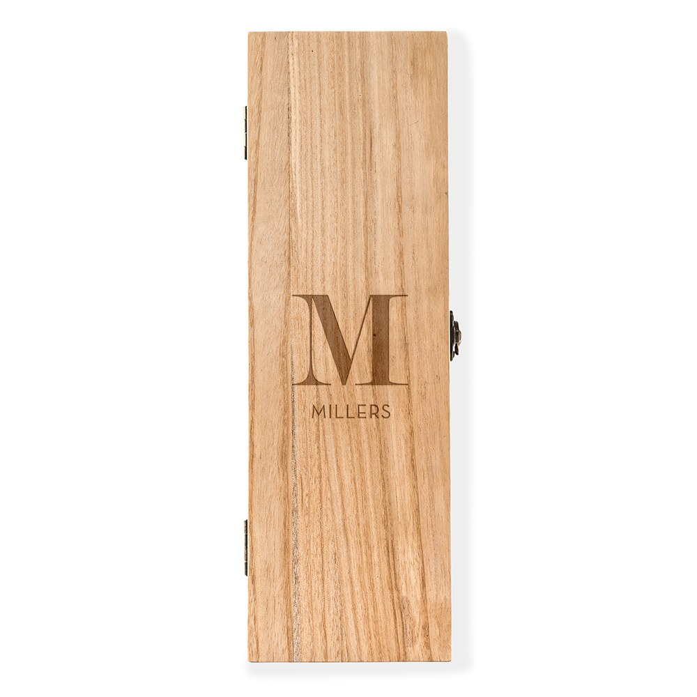 Custom Engraved Wooden Wine Gift Box with Lid - Modern Serif Monogram