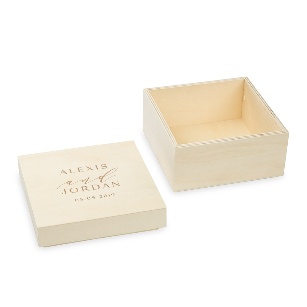 Personalized Wooden Keepsake Gift Box - Modern Couple Etching