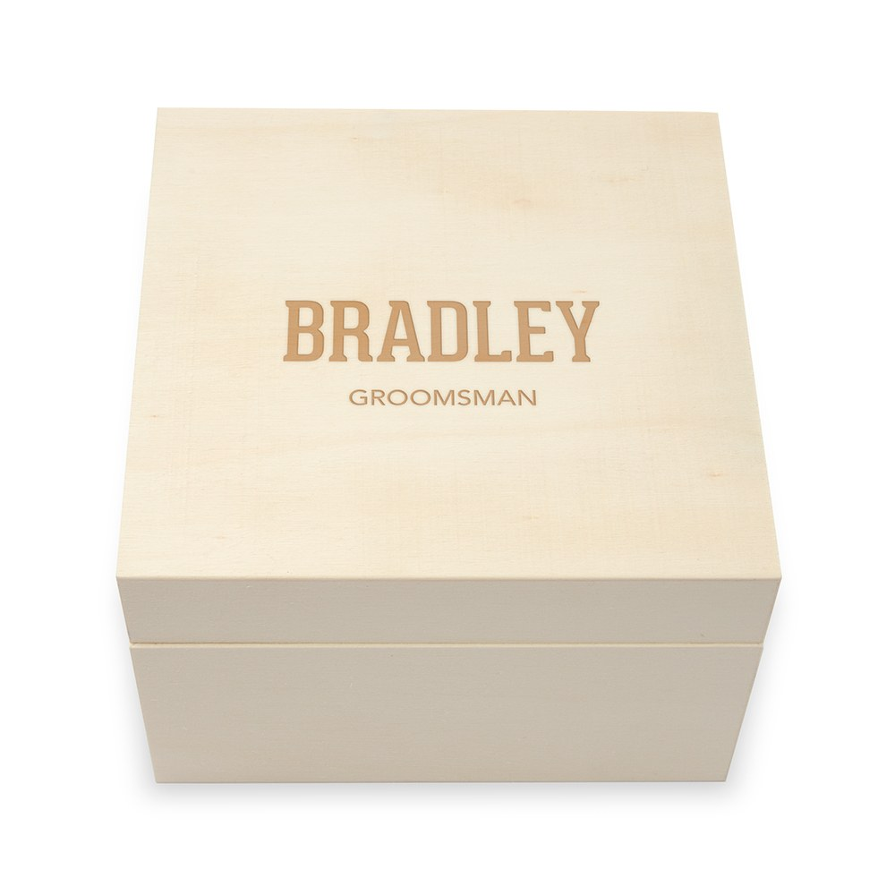 Personalized Wooden Keepsake Gift Box - Collegiate Etching