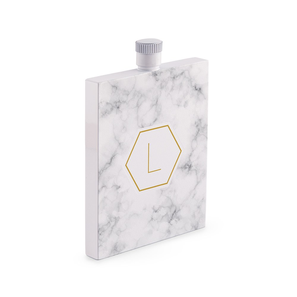 Personalized White Stainless Steel 3 oz. Hip Flask - Geo Marble