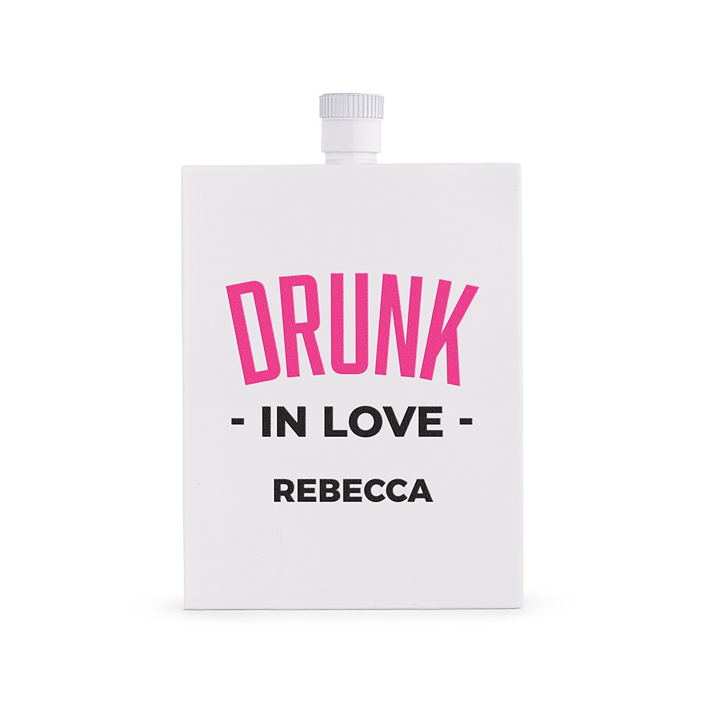 Personalized White Stainless Steel 3 oz. Hip Flask - Drunk In Love