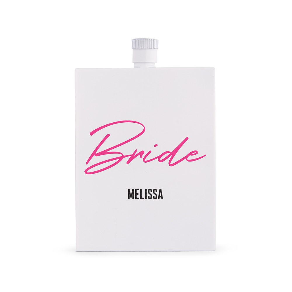 Personalized White Stainless Steel 3 oz. Hip Flask - Vegas Bride