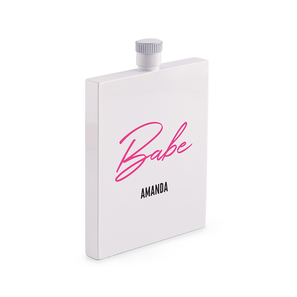 Personalized White Stainless Steel 3 oz. Hip Flask - Vegas Babe