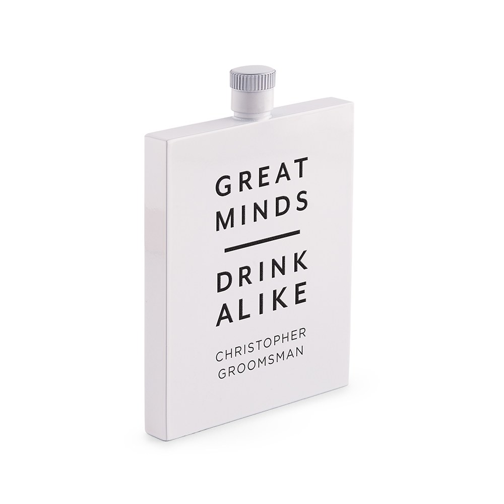 Personalized White Stainless Steel 3 oz. Hip Flask - Great Minds Drink Alike