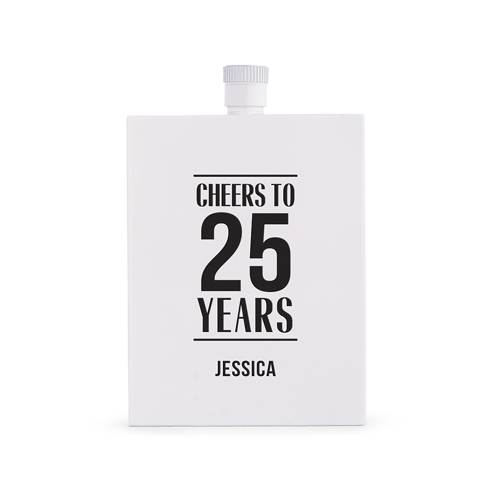 Personalized White Stainless Steel Hip Flask – Anniversary Print
