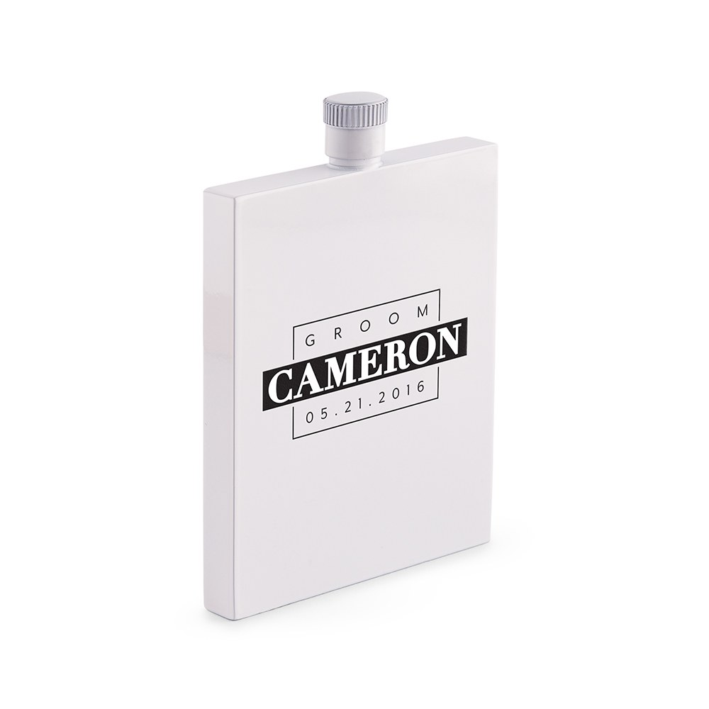 Personalized White Stainless Steel Hip Flask – Groom Monogram Print