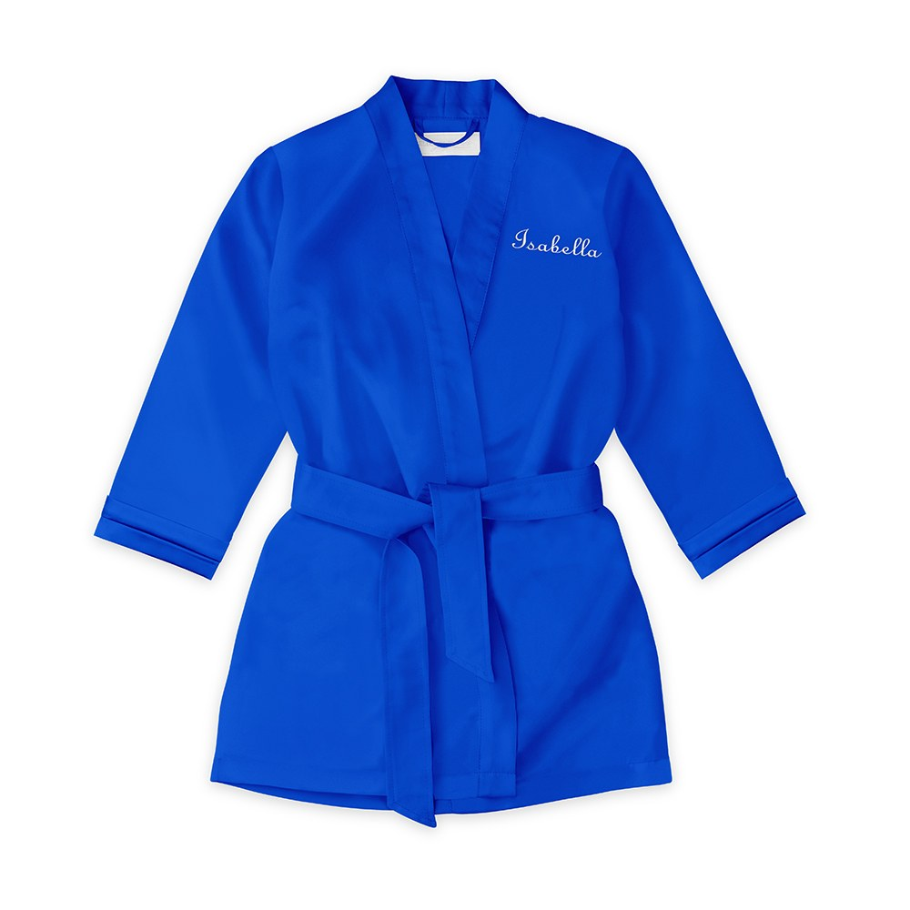 Personalized Flower Girl Satin Robe With Pockets- Royal Blue