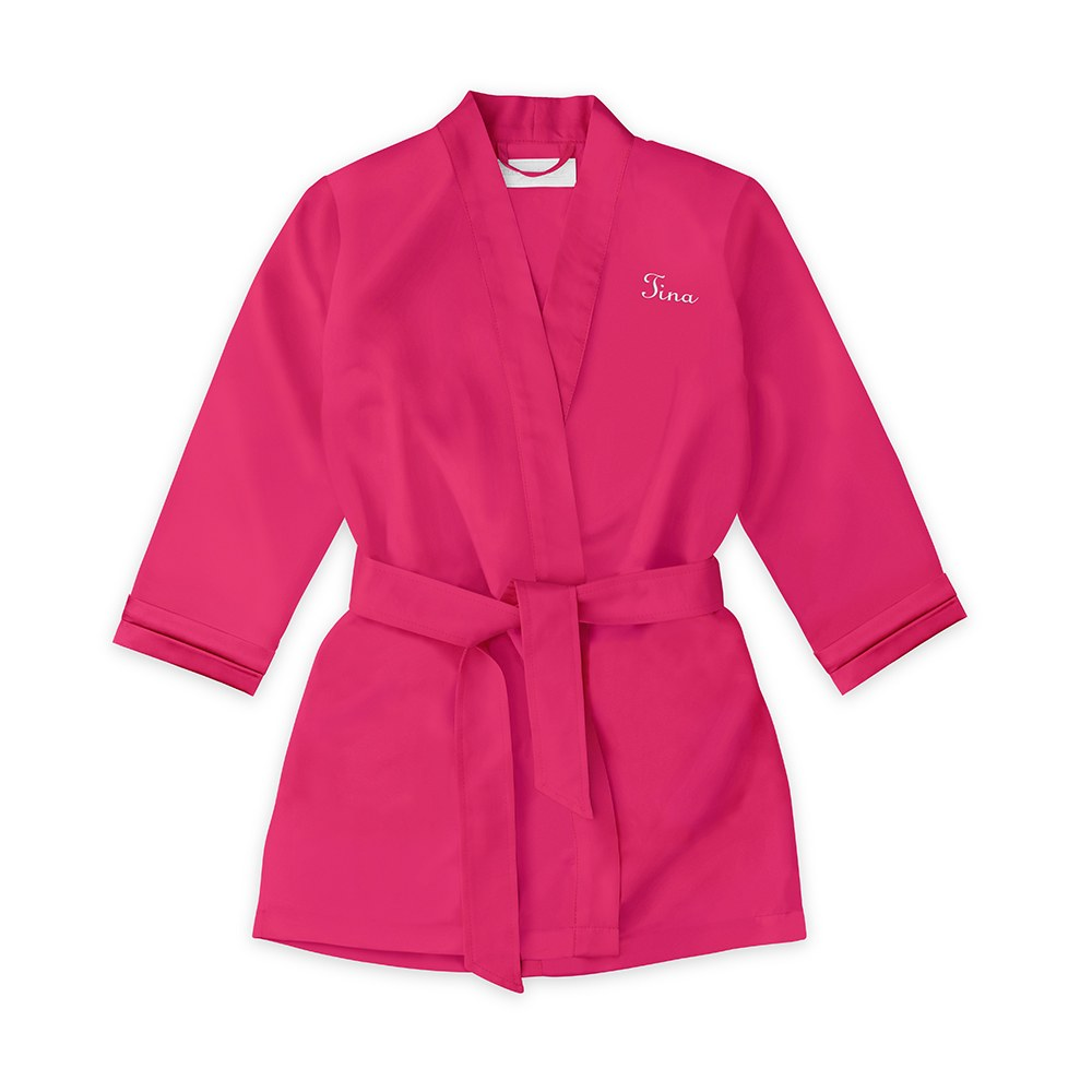 Personalized Flower Girl Satin Robe with Pockets - Fuchsia Pink