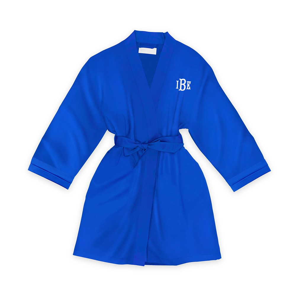 Personalized Junior Bridesmaid Satin Robe With Pockets- Royal Blue