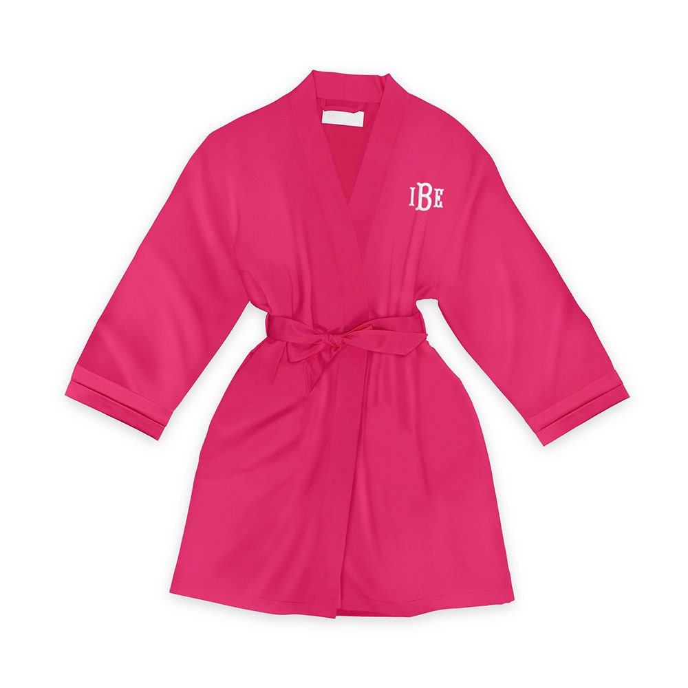 Personalized Junior Bridesmaid Satin Robe with Pockets- Fuchsia
