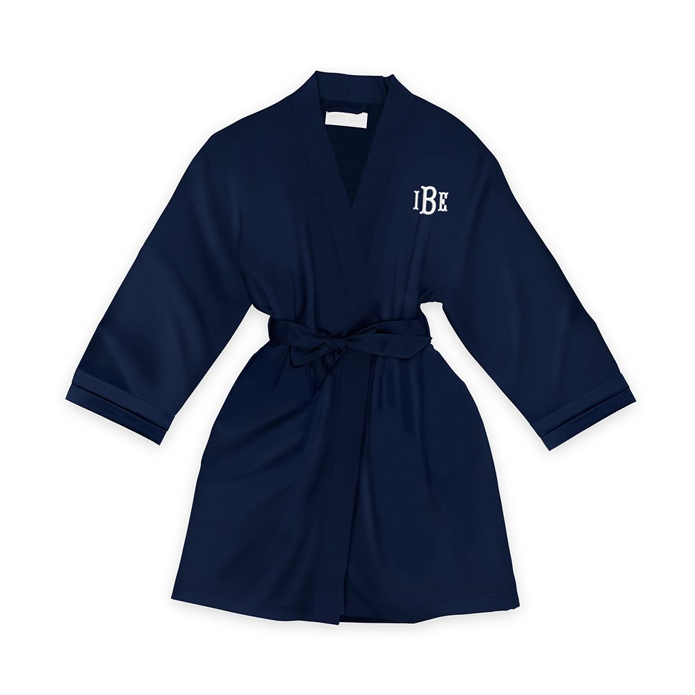 Personalized Junior Bridesmaid Satin Robe with Pockets- Navy