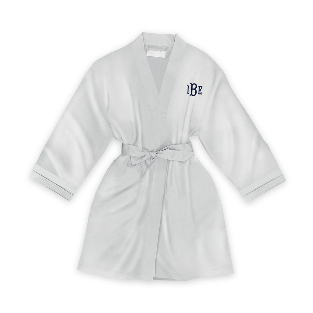 Personalized Junior Bridesmaid Satin Robe with Pockets- Silver