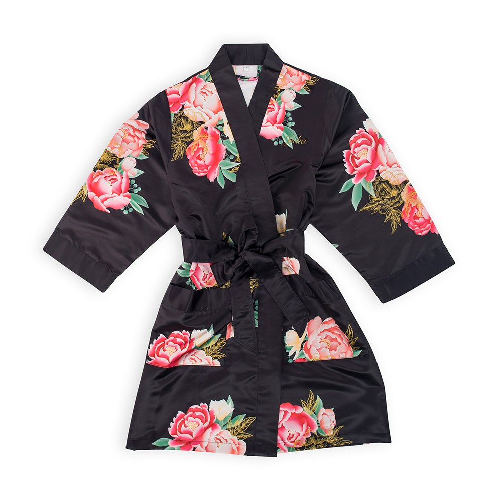 Personalized Flower Girl Satin Robe with Pockets- Black Blissful Blooms