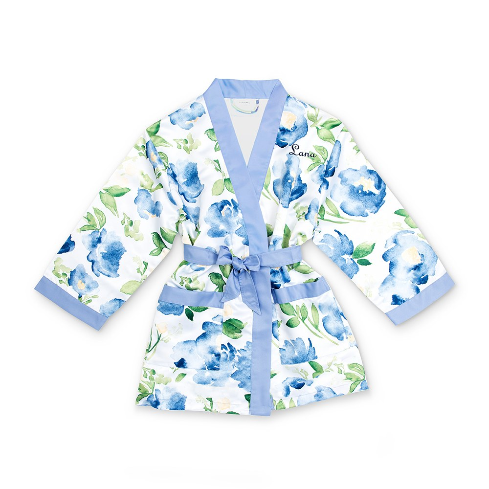 Personalized Flower Girl Satin Robe with Pockets- Blue Floral
