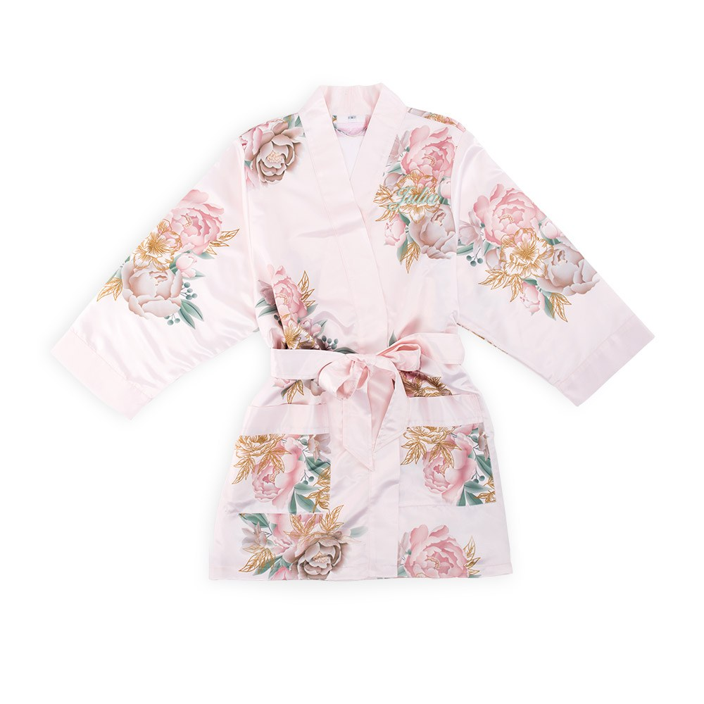 Personalized Flower Girl Satin Robe with Pockets- Blush Blissful Blooms
